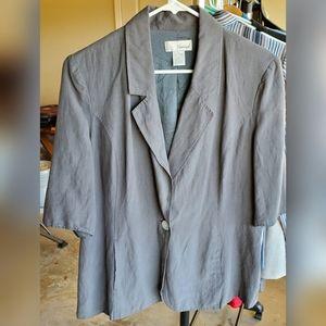 Gray Silk Linen Blend Blazer